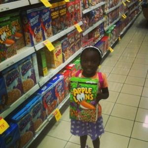 First time in the grocery store. She couldn't pick which cereal!